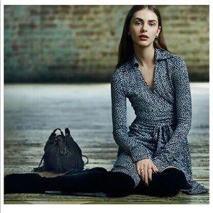DVF CYBIL 100% Silk Midi-long sleeved wrap dress.